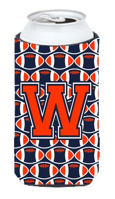 Letter W Football Orange - Blue and white Tall Boy Beverage Insulator Hugger CJ1066-WTBC #artwork #artworks