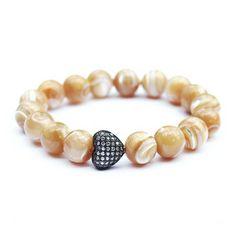 MADISON - mother of pearl gunmetal CZ pave heart bracelet | © VELINA