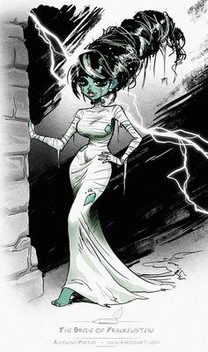 The Bride of Frankenstein sketch by pardoart.deviantart.com on @deviantART
