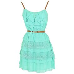 Lily Boutique Nashville Nostalgia Belted Ruffle Dress in Mint ($46) ❤ liked on Polyvore featuring dresses, short dresses, vestidos, blue mini dress, short blue dresses, short lace cocktail dress, mint lace dress and short lace dress