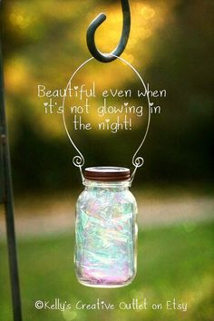 Fairy Garden Lantern/Solar Jar, fully assembled with a fitted handle to hang it from.
