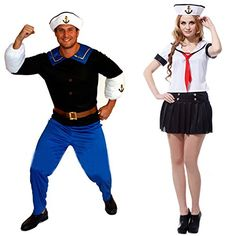 Popeye Halloween Costumes. He eats his spinach 'cause he is strong to the finish, he is Popeye The Sailor Man - Toot Toot! Kids and Adults Popeye Costumes.