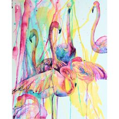 """Yard Decor Tropical Flamingo Outdoor Print 18""""x24"""" Ready to Hang by Jen Callahan (€145) found on Polyvore"""