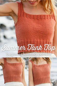 Crochet Skirt Pattern, Knit Vest Pattern, Crochet Tank, Knitted Tank Top, Free Knitting Patterns For Women, Beginner Knitting Patterns, Yarn Crafts, Crochet Clothes, Summer Knitting