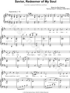 Print and download Savior, Redeemer of My Soul sheet music composed by Rob Gardner. Sheet music arranged for Piano/Vocal/Chords, and Singer Pro in D Major (transposable).