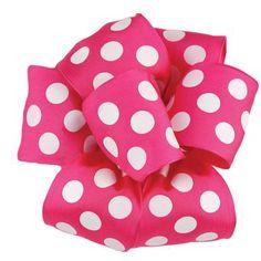 """2.5"""" Pink White Polka Dot Wire Edge Ribbon"""