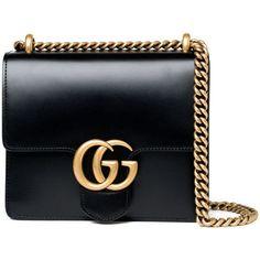 Gucci Small Marmont Bag - Black (£1,390) ❤ liked on Polyvore featuring bags, handbags, shoulder bags, gucci, bolsas, purses, kirna zabete, oversized purses, gucci shoulder bag and man bag