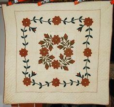RARE Vintage 1870's President's Wreath Applique Crib Antique Quilt Vine Border | eBay, french72