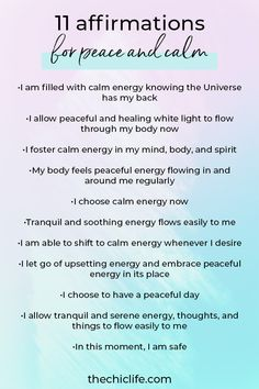 11 Affirmations for Peace and Calm   For Reducing Stress and Overwhelm