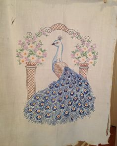 Intricately Hand Embroidered Peacock Panel with by esmeelynne