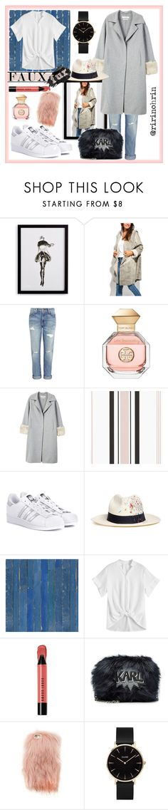 """minimalist faur fux"" by rindularas on Polyvore featuring Frontgate, Charlotte et Louis, Current/Elliott, Tory Burch, MANGO, adidas Originals, Sensi Studio, NLXL, Urban Decay and Bobbi Brown Cosmetics"