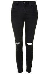 MOTO Washed Black Busted Knee Jamie Jeans
