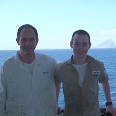 My Father and I, somewhere in the Atlantic, off Africa and with the Canary Islands in the background. #samueldengel #dengel #merchantmarines #canaryislands #africa #travel #instagood