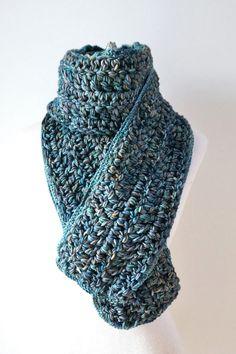 Teal Blue crochet scarf long scarf hand by ValerieBaberDesigns
