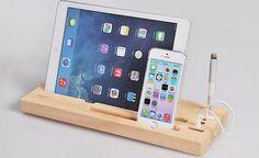 Wooden organizer, Pen holder, phone stand, Ipad holder, Wooden iPhone station, Wood iPhone Dock