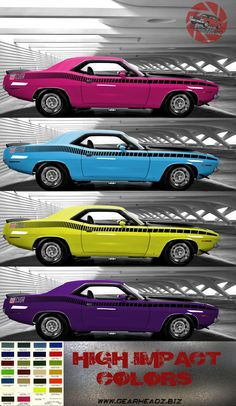 """1970 'Cuda AAR - with MOPAR high impact color matching! From Plum Crazy to Lemon Twist, we got them all! Get the print over at www.gearheadz.biz. $45.00 and FREE priority shipping in the US! (24""""x48"""")"""