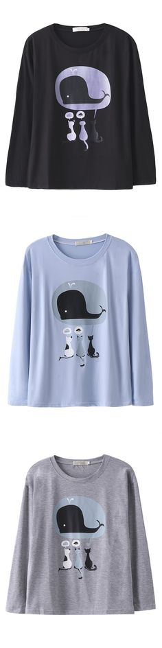 Cartoon Printed Long Sleeve O Neck T-shirt For Women