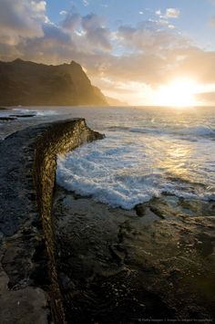Sunset at coast of Santo Antao, Ponta do Sol, Cape Verde Islands, Kaapverdie - More at https://www.kaapverdie.nl/santo-antao/