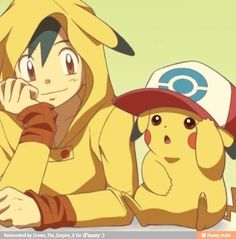Ash dressed as Pikachu and Pikachu dressed as Ash