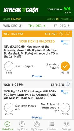 ESPN Streak for the Cash iOS App