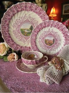 RARE Huge Copeland Spode Lilac Lavender Transferware Platter Scenic River & Landscape with Exquisite Detail French Cottage Decor - Nancy's Daily Dish Vintage Dishes, Vintage China, Vintage Tea, Vintage Vignettes, Antique Dishes, Vintage Style, Chinoiserie, French Cottage Decor, Cottage Pie