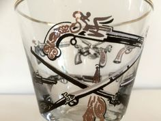 Mid-century Atomic Patterned Glasses Etched w/ Guns & Swords, Set of 7-By Libbey