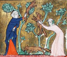 catche ye litle foxis to us, that destrien the vyneris (Song of Solomon 2:15) -   Rothschild Canticles, Flanders 14th century (Beinecke Rare Book & Manuscript Library, MS 404, fol. 55r)