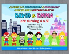 Superhero and Princess Invitation, Superhero and Princess Birthday Invitation, Superhero Princess Party