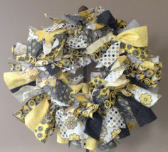 "Yellow and Gray Shabby 18"" Fabric Wreath"