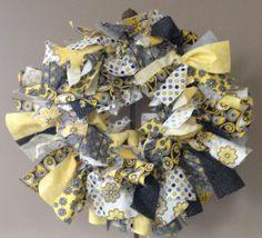 "Yellow and Gray Shabby 18"" Fabric Wreath"
