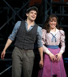 Newsies - Jeremy Jordan and Kara Lindsay Nights On Broadway, Musical Theatre Broadway, Broadway Shows, Newsies Costume, Jack Kelly, Seize The Days, Theatre Nerds, Dear Evan Hansen, My Escape