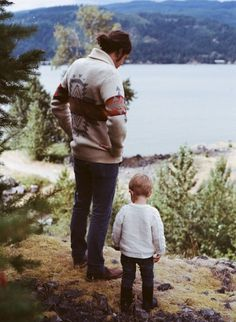 Hikes in cozy sweaters with little ones and a great view.