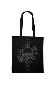 Tote Cotton Bag, Canvas Shopper, Shopping bag, Skull roses