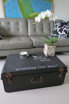 Black Metal Chalk Board Vintage Steamer Trunk Chest Coffee Table Toy Box -- Loooooove this Antique Coffee Tables, Coffee And End Tables, Decorating Coffee Tables, Coffee Table Design, Coffee Table Toy Box, Vintage Trunks, Antique Trunks, Vintage Steamer Trunk, At Home Furniture Store