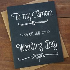 To My Groom On Our Wedding Day - Wedding Day Card - Groom Gift - Groom's gift from bride on Etsy, $3.95