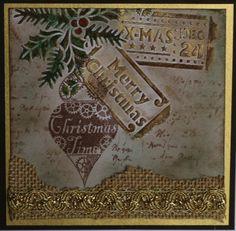 Weihnachtskartengestaltung mit Viva-Decor-Produkten, erhältlich bei HSE24 - Basteln am 11.11.2014 - Karte gestaltet von Daniela Rogall