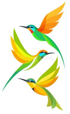 Illustration about Stylized Colorful Birds in flight - Bee-eaters. Illustration of isolated, wildlife, yellow - 144190080 Bird Stencil, Stencil Art, Damask Stencil, Stencil Patterns, Stencil Designs, Funny Bird, Watercolor Paintings For Beginners, Fabric Paint Designs, Hummingbird Art