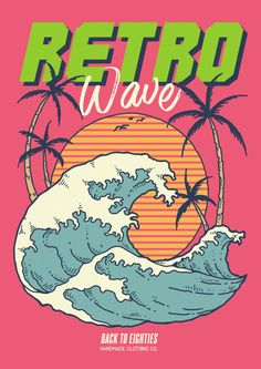 Retro Wave Illustration With Ocean Sunset And Coconut Trees In Vintage Vector Illustration Discover thousands of Premium vectors available in AI and EPS formats