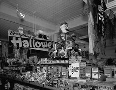 "Kresge's store at Halloween-ca. Minneapolis, Minnesota, USA --- A display table at Kresge's store in Minneapolis holds ""Everything for Halloween. Retro Halloween, Halloween Images Free, Vintage Halloween Crafts, Halloween Fotos, Halloween Cartoons, Halloween Halloween, Victorian Halloween, Halloween Cards, Halloween Makeup"
