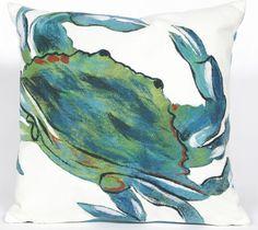 Blue Crab Sea Indoor/Outdoor Pillow: Beach Decor, Coastal Decor, Nautical Decor, Tropical Decor, Luxury Beach Cottage Decor, Beach House Decor Shop