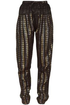 They feel like track pants, but geometric patterns and metallic threading give Ace & Jig's Bazaar pants a stylish edge.The tapered silhouette makes this pair a cool alternative to skin-tight styles.