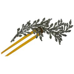 French Cut Steel Feather Hair Comb   From a collection of rare vintage hats at https://www.1stdibs.com/fashion/accessories/hats/