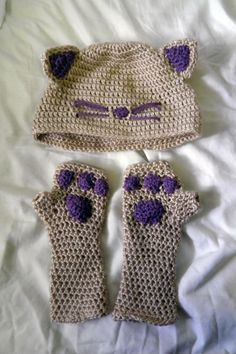 Crochet Cat Hat and Gloves