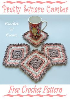 Crochet these pretty square coasters for your home or for gifts, it's a free crochet pattern on crochetncreate. #crochet #crochetcoaster #crochetdining #freecrochetpatterns #crochetforkitchen