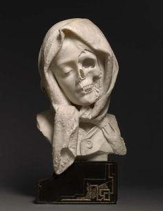 Marble Vanitas, Unknown artist, Marble Sculpture, late 19th century : Art