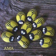 Piedras pintadas abeja