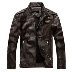 European American Style Thicken Warm PU Leather Jacket Motorcycle Coat (€59) ❤ liked on Polyvore featuring men's fashion, men's clothing, men's outerwear, men's jackets, coffee, mens motorcycle jacket, mens slim jacket, mens slim fit jackets, mens slim fit motorcycle jacket and mens zipper jacket