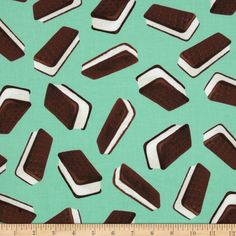 Brain Freeze Ice Cream Sandwiches Mint Green - Discount Designer Fabric - Fabric.com