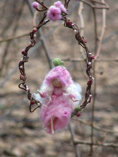 Needle felted  fairy sitting on a twig waldorf by Made4uByMagic, $65.00