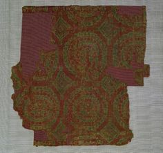 Textile with Geometric Design, 7th - 9th Century Central Asia, late 7th - 9th century  weft-faced compound twill weave, silk, Overall - h:17.65 w:17.65 cm (h:6 15/16 w:6 15/16 inches). John L. Severance Fund 1950.514 Cleveland Museum of Art